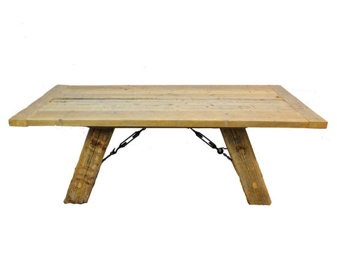 Salvaged Industrial Reclaimed Pine Wood Rustic Dining Table with Metal Elements