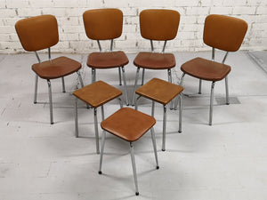 Set of 4 Chrome Brown Vinyl Mid-Century Retro Kitchen Chairs with 3 Kitchen Stools
