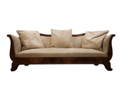 Antique Swedish Biedermeier Sofa w Pale Beige Upholstery and Matching Pillows