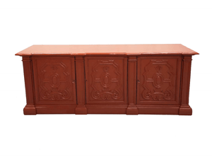 Early 20th C. French Brick Red Country Sideboard Kitchen Buffet Shabby Chic