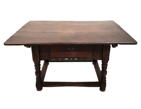 Very Rare 19th-century Antique French Small Petite Oak Kitchen Dining Table with Drawer