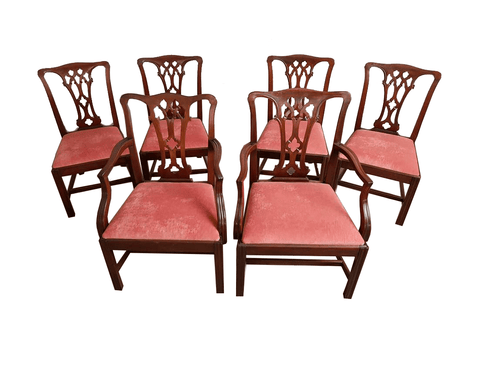 Set of 6 Vintage George III Chippendale Style Oak Dining Chairs Reupholstered