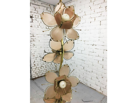 1970s Vintage Italian Glass Lotus Flower Floor Lamp