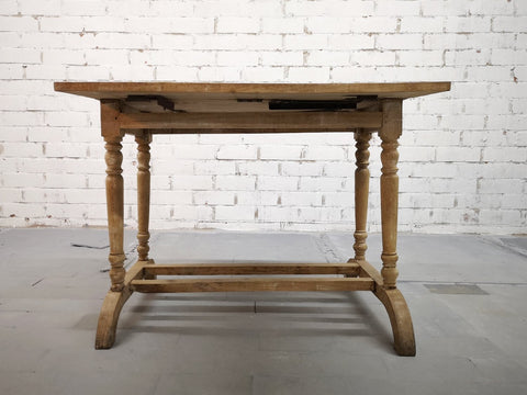 Antique French Oak Country Folding Console Side Entry Table