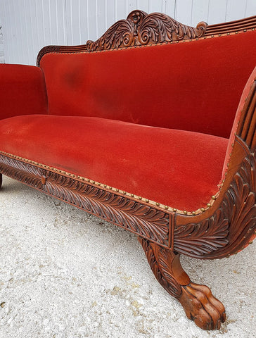 Antique French Cherry Massive Empire Red Velvet Upholstery Sofa Canape