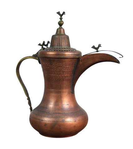 Image of Antique Early 1900's Arabic Copper Brass Pitcher