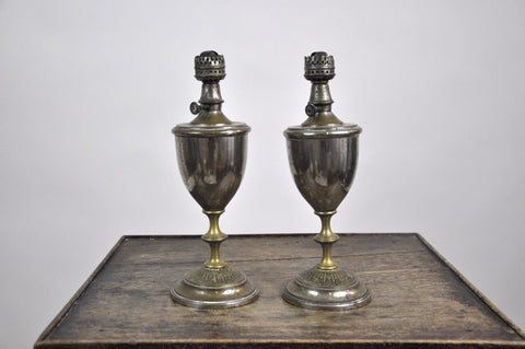 Image of Set of Two Antique French 1900's Tin Trophy Shaped Oil Lamps