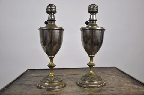 Set of Two Antique French 1900's Tin Trophy Shaped Oil Lamps