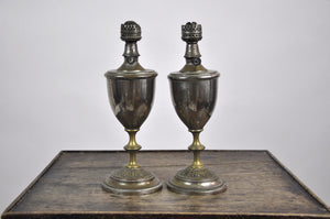 Set of Two Antique French 1900's Tin Trophy Shaped Table Oil Lamps