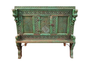 Large Indian Antique Teak and Iron Green Damchiya Dowry Ornate Chest c. 1850