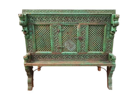 Image of Large Indian Antique Teak and Iron Green Damchiya Dowry Ornate Chest c. 1850