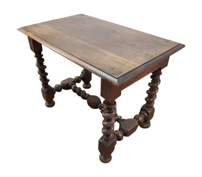 Tap to expand - Solid Sturdy Antique French Oak Barley Twist H-stretcher Table Desk