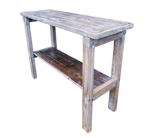 Reclaimed Distressed Pine Wood Whitewashed Console Side Table by Darvo