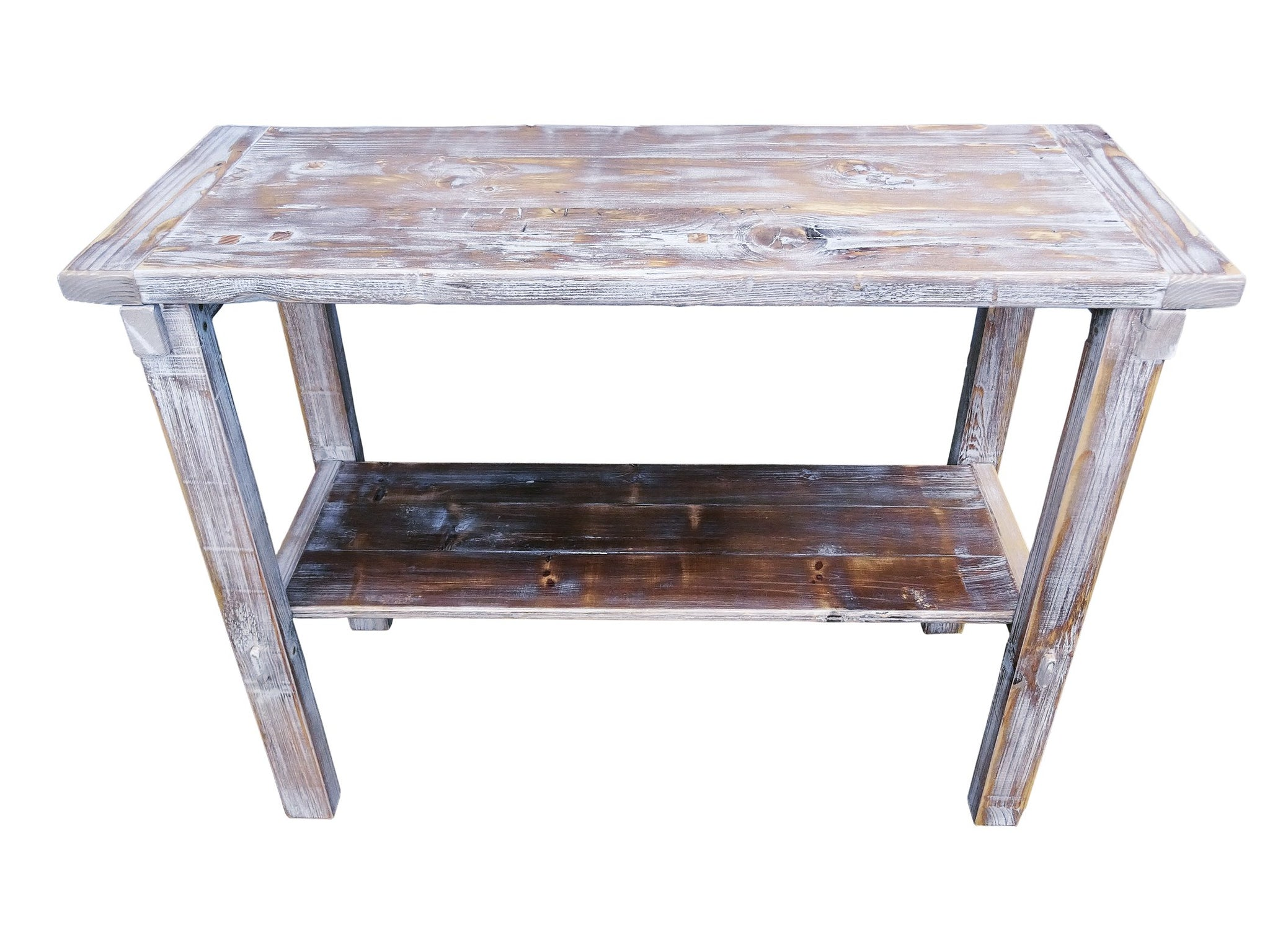 Reclaimed Distressed Pine Wood Whitewashed Console Side Table By Darvo ...