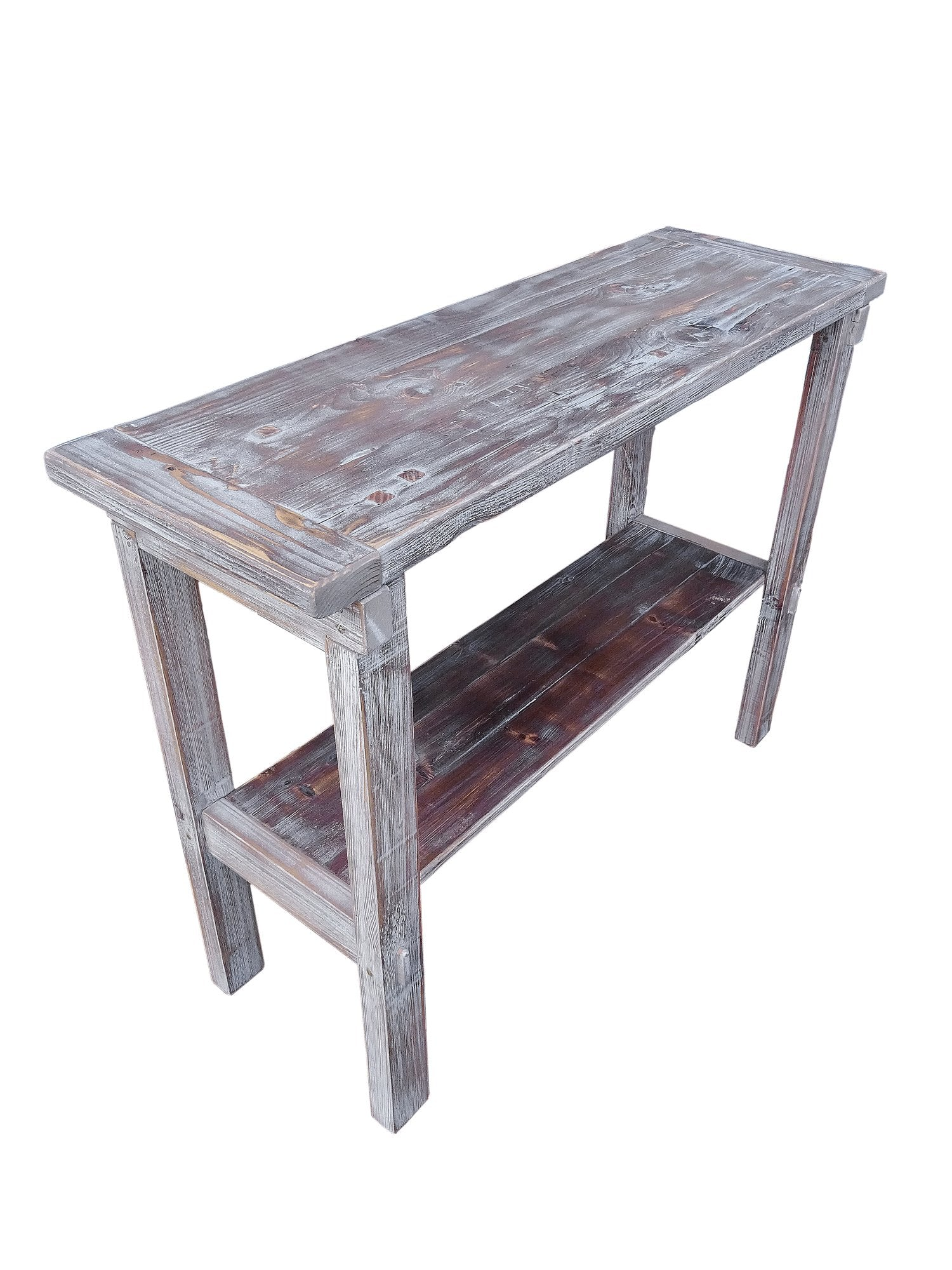 ... Reclaimed Distressed Pine Wood Whitewashed Console Side Table By Darvo  ...