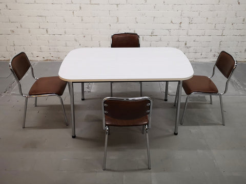 Dining Set - Vintage Mid Century 4 Chrome Seats Rectangular Melamine Table