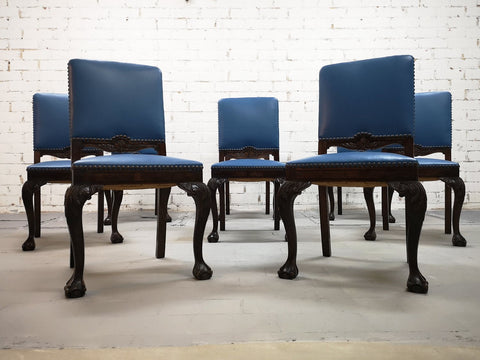 Gorgeous Set of 8 French Antique Chippendale Square Back Blue Leather Dining Chairs