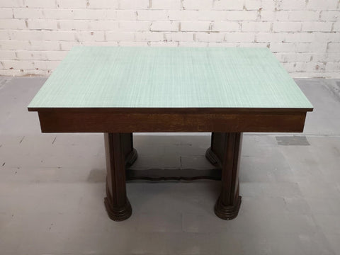 Fine Rare French Art Deco Green Melamine Top Dining table