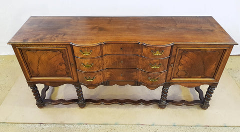 Antique French Oak Barley Twist Sideboard Credenza Buffet Server