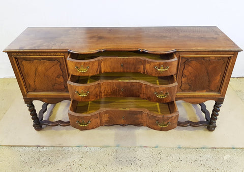 Unique Antique French Oak Barley Twist Sideboard Credenza Buffet Server