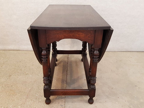 Image of Antique Barley Twist Oak Dining Table Oval Gate Leg early 1900's