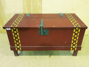 Vintage Dutch Hand Painted Dowry Trunk Storage Blanket Box Coffee Table Decoration
