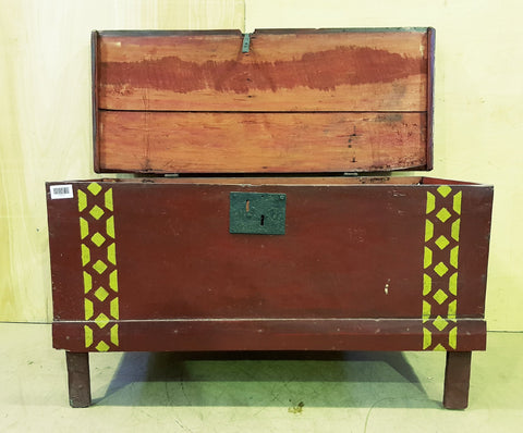 Antique East European Hand Painted Dowry Trunk Box