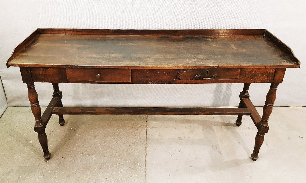 Antique French Cherry Wood Farm Draper Side Table with Two Drawers