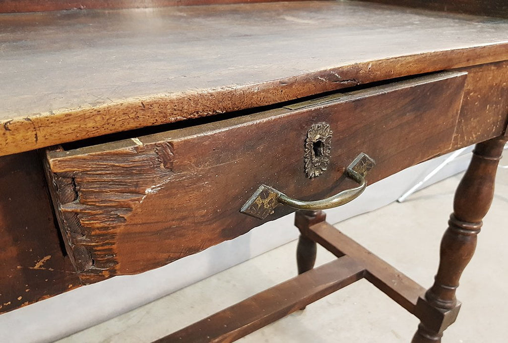 French Antique Farm Draper Side Table with Two Drawers