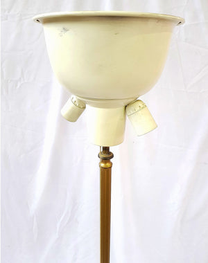 Vintage French Brass Three-Way Floor Lamp with Claw Three Foot Base