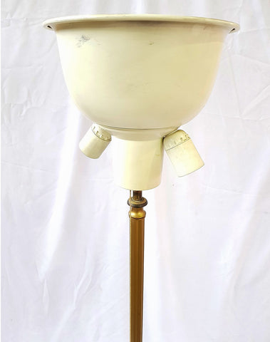 Antique Vintage Brass French Floor Lamp Claw Three Foot Base