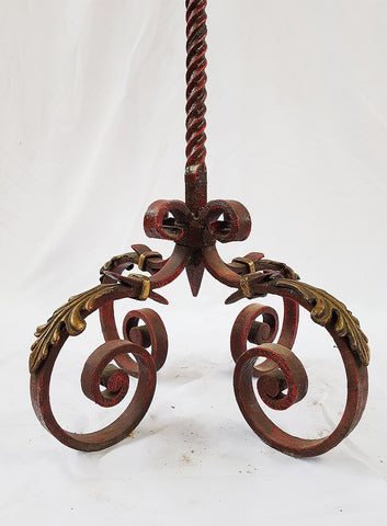 Vintage French Lighting Wrought Iron Decorative Painted Floor Lamp