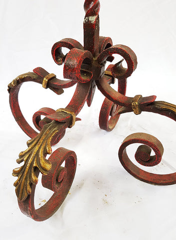 Image of Vintage French Lighting Wrought Iron Decorative Painted Floor Lamp