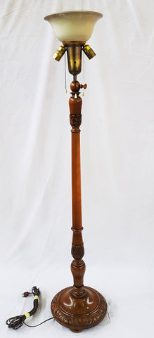 Vintage French Lighting Carved Wood Three-Way Floor Lamp