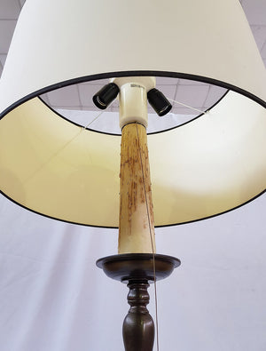 Antique Massive French Lighting Brass Three-Way Floor Lamp with Real Candle Wax