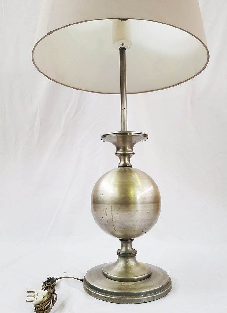 Antique French Lighting Pewter Bed Lamp