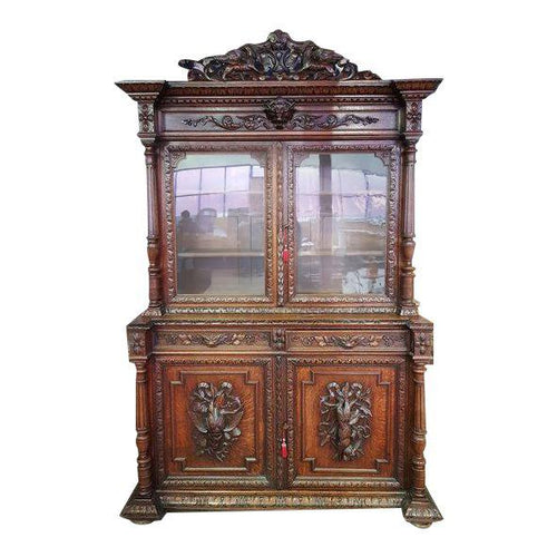 Antique French Carved Walnut Hunters Cabinet Buffet Sideboard