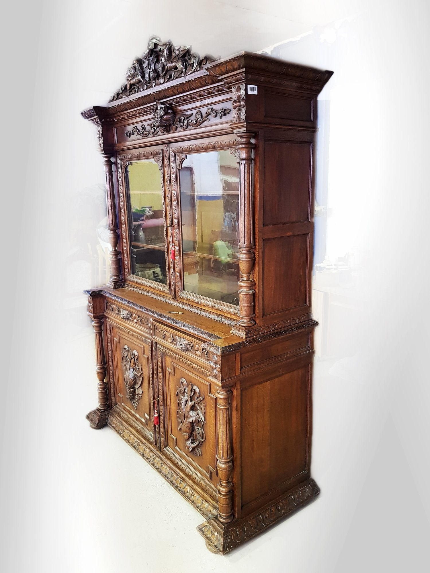 - Antique French Carved Walnut Hunters Cabinet Buffet Sideboard