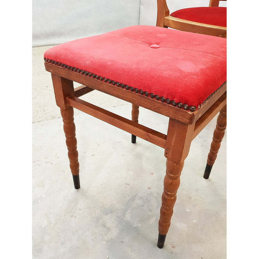 Red Velvet Antique Oak Armchair and Footstool