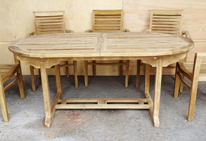 Massive Oval Extending Teak Wood Patio Dining Table with Eight Stacking Chairs