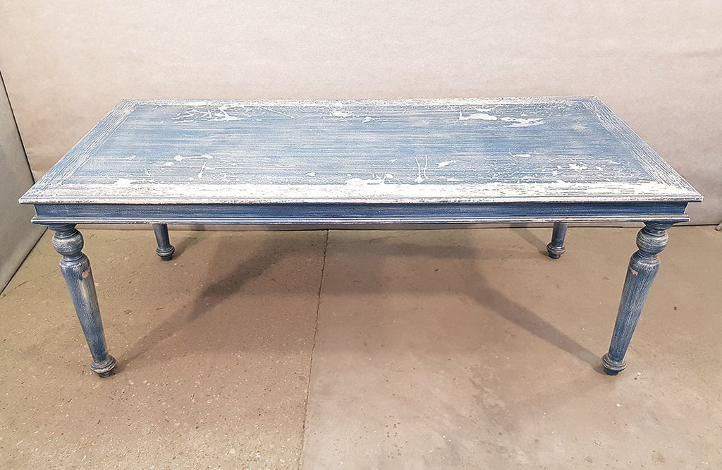 Blue French Vintage Shabby Chick Turned Legs Distressed Farmhouse Dining Table