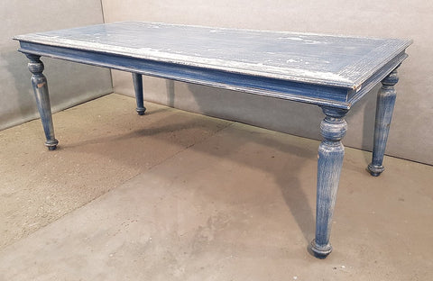 Image of Blue French Vintage Shabby Chick Turned Legs Distressed Farmhouse Dining Table