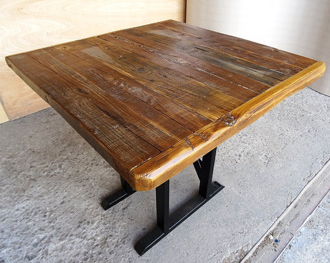 Image of Industrial Rustic Reclaimed Live Edge Timber Side Table with Solid Iron Pedestal Stand