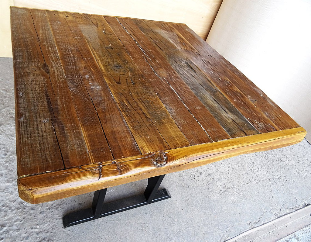 Industrial Rustic Reclaimed Live Edge Timber Side Table with Solid Iron Pedestal Stand