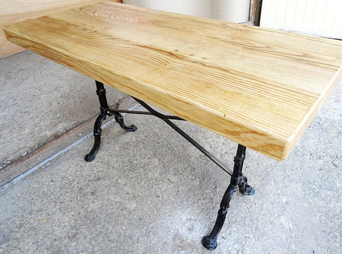 Image of Handcrafted Reclaimed Pine Wood Solid Industrial Dining Table cast Iron Legs