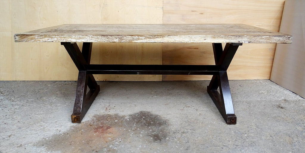 Reclaimed Rustic White Wash Teak Dining Table with Solid Industrial Metal X-stretcher Legs
