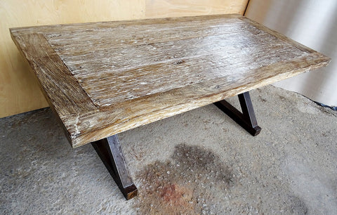 Image of Reclaimed Rustic White Wash Teak Dining Table with Solid Industrial Metal X-stretcher Legs