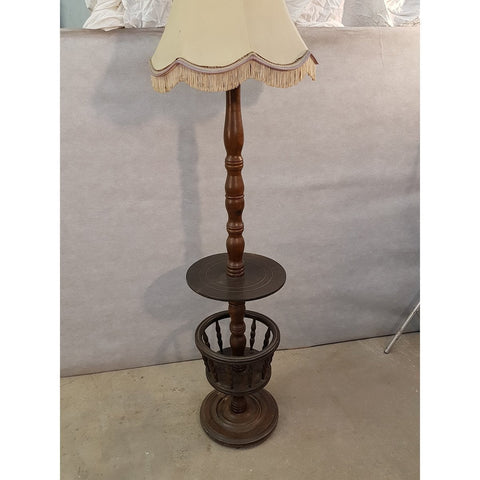 Early 20th Century Solid French Floor Lamp with Attached Table