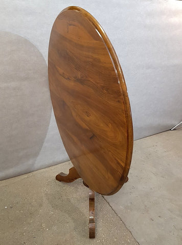 French Antique Round Tilt Top Occasional Side Wine Table