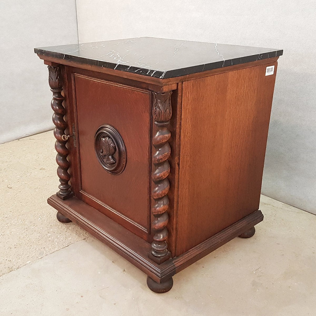 French Louis XIII Style early 20th c. Confiturier Cabinet Cupboard with Single Door and Marble Top